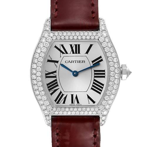 Photo of Cartier Tortue 18k White Gold Diamond Burgundy Strap Ladies Watch 2644