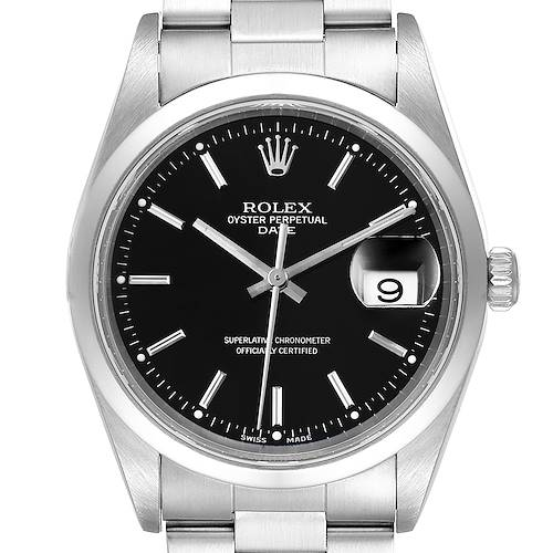 Photo of Rolex Date Black Dial Oyster Bracelet Steel Mens Watch 15200 Box Papers