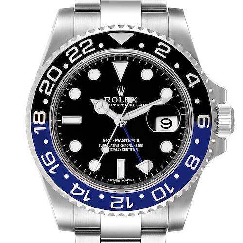 Photo of Rolex GMT Master II Batman Blue Black Ceramic Bezel Steel Watch 116710 Box Card