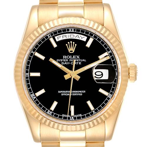 Photo of Rolex President Day-Date Black Dial Yellow Gold Watch 118238 Box Papers