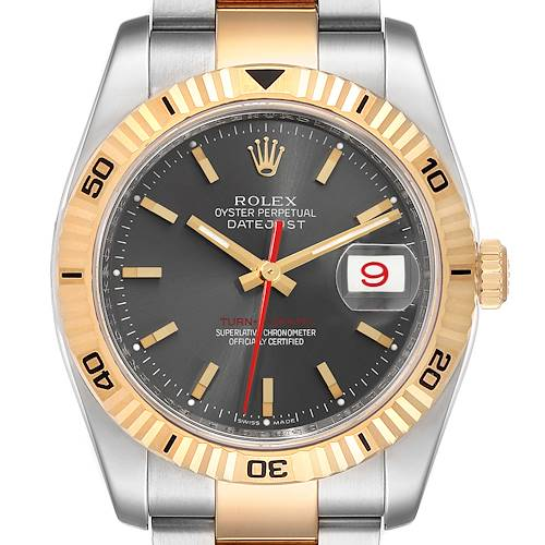Photo of Rolex Turnograph Datejust Steel Yellow Gold Gray Dial Mens Watch 116263