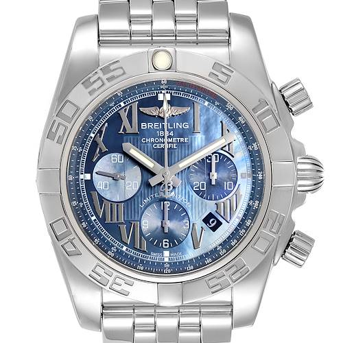 Photo of Breitling Chronomat 01 Blue MOP Dial Steel Mens Watch AB0110 Box Papers