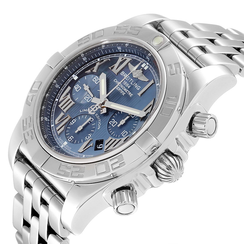 Breitling Chronomat 01 Blue MOP Dial Steel Mens Watch AB0110 Box Papers SwissWatchExpo