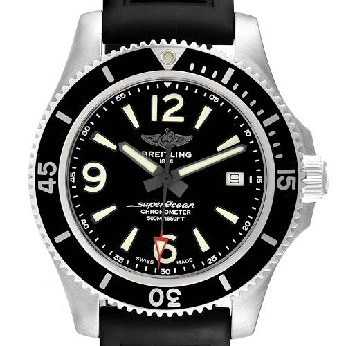 Photo of Breitling Superocean 42 Black Dial Steel Mens Watch A17366 Box Papers