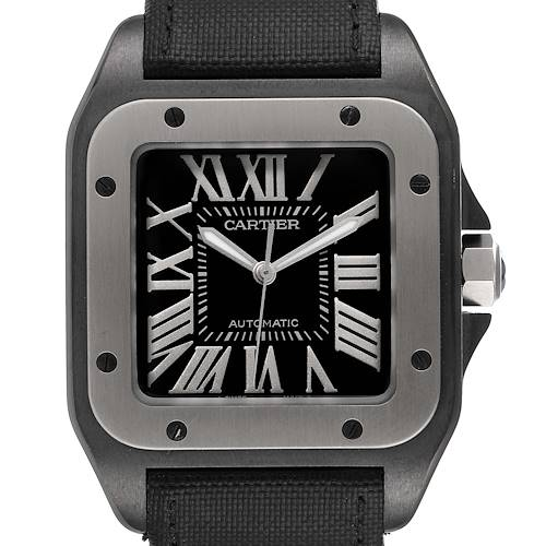 Photo of Cartier Santos 100 Black PVD Steel Mens Watch W2020010 Box Papers