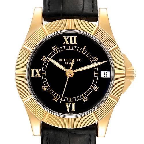 Photo of Patek Philippe Neptune Black Dial 18k Yellow Gold Mens Watch 5081