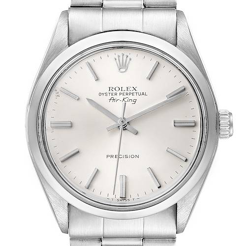 Photo of Rolex Air King Vintage Stainless Steel Silver Dial Mens Watch 5500 Papers