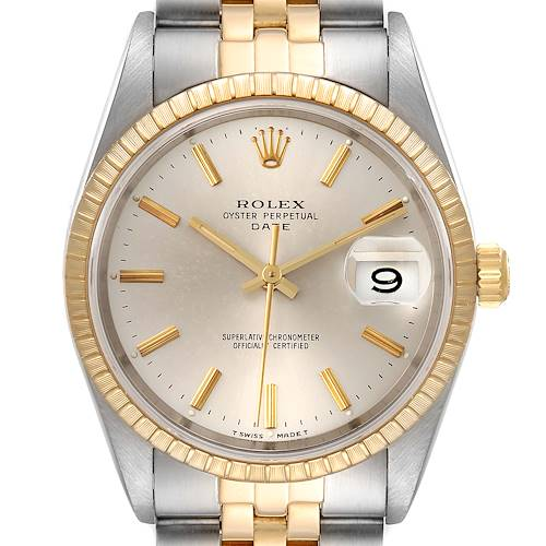 Photo of Rolex Date Steel 18k Yellow Gold Silver Dial Mens Watch 15223 Box Papers