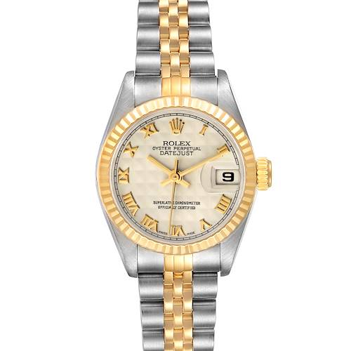 Photo of Rolex Datejust Steel Yellow Gold Ivory Pyramid Dial Ladies Watch 69173
