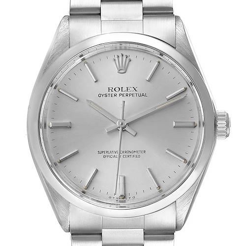 Photo of Rolex Oyster Perpetual Vintage Stainless Steel Silver Dial Mens Watch 5500