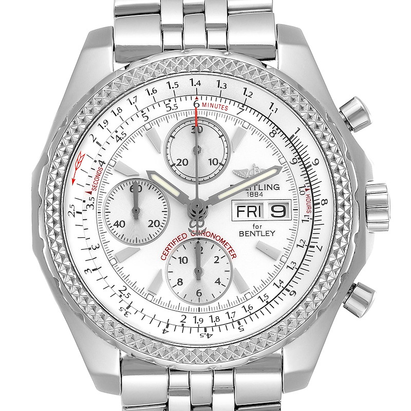 Breitling Bentley Motors GT Silver Dial Chronograph Mens Watch A13362 SwissWatchExpo