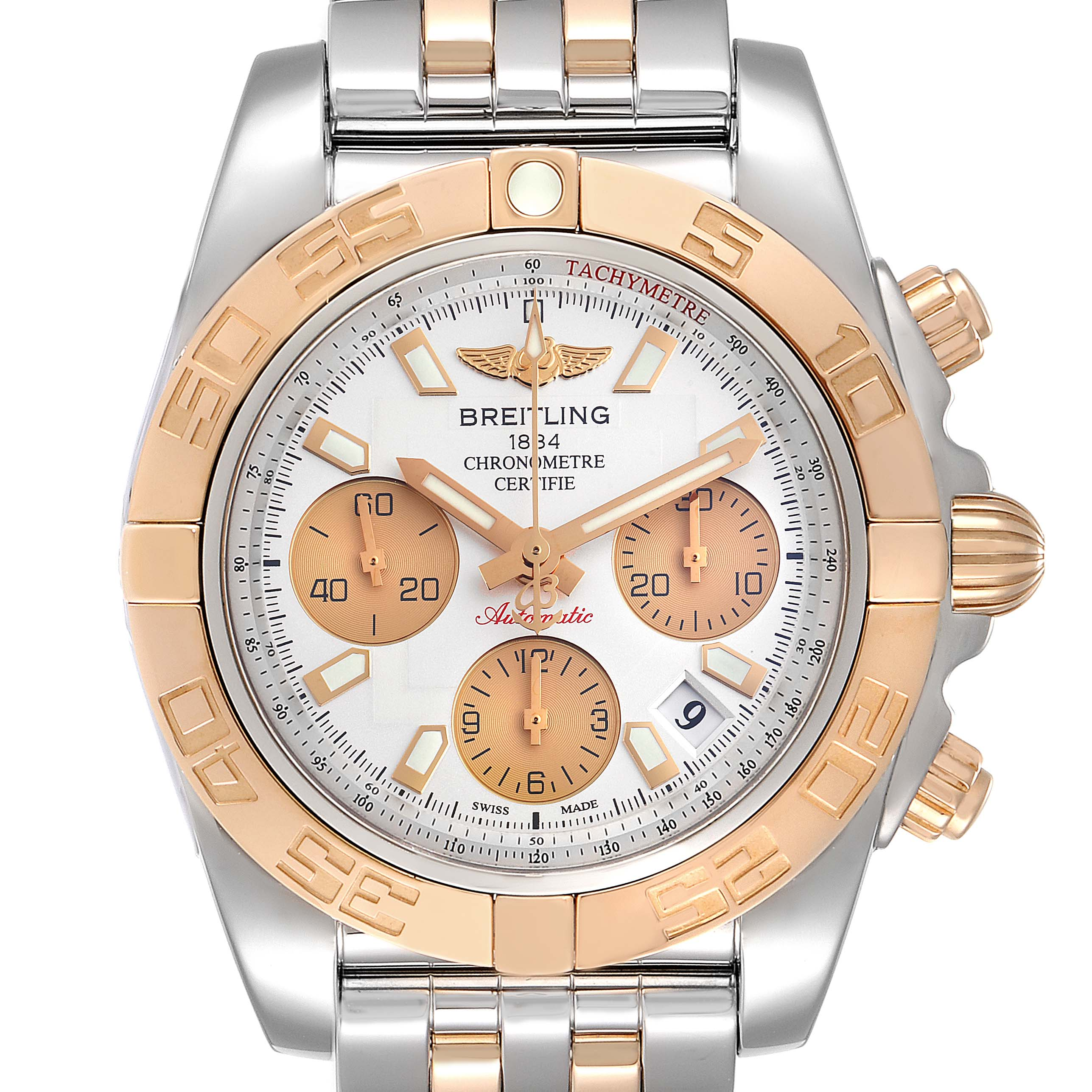 Breitling Chronomat 41 Steel Rose Gold Silver Dial Watch CB0140 Box Papers SwissWatchExpo