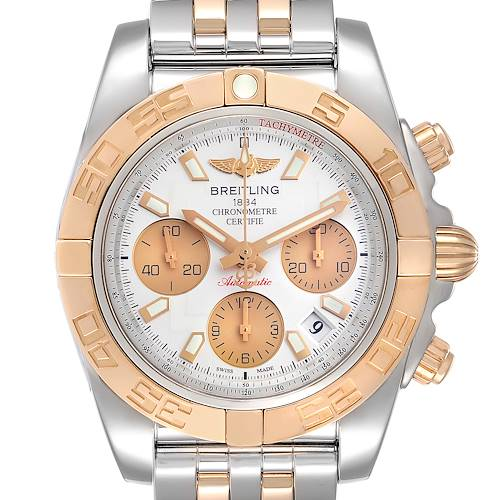 Photo of Breitling Chronomat 41 Steel Rose Gold Silver Dial Watch CB0140 Box Papers