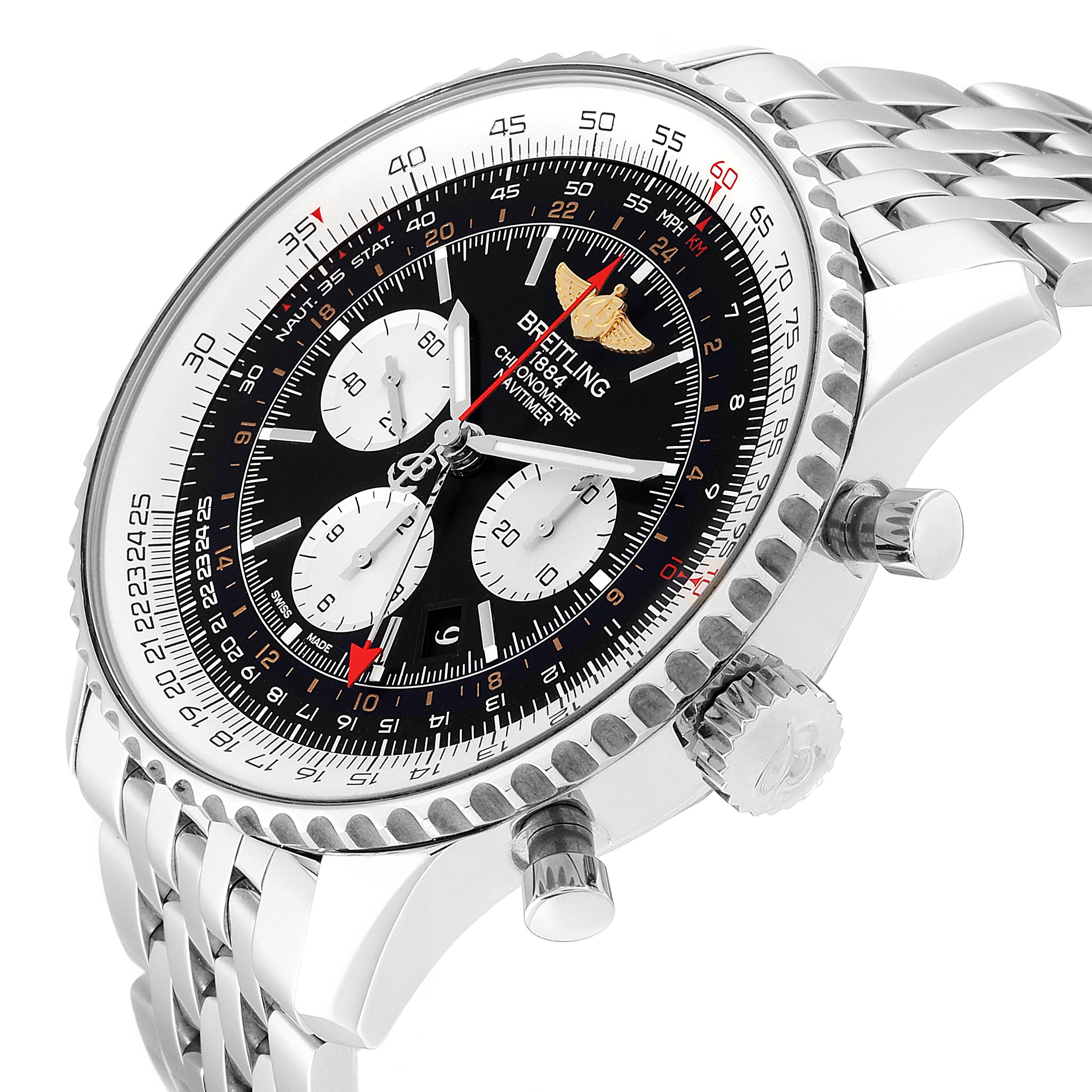 Breitling Navitimer GMT 48 Black Dial Steel Mens Watch AB0441 SwissWatchExpo
