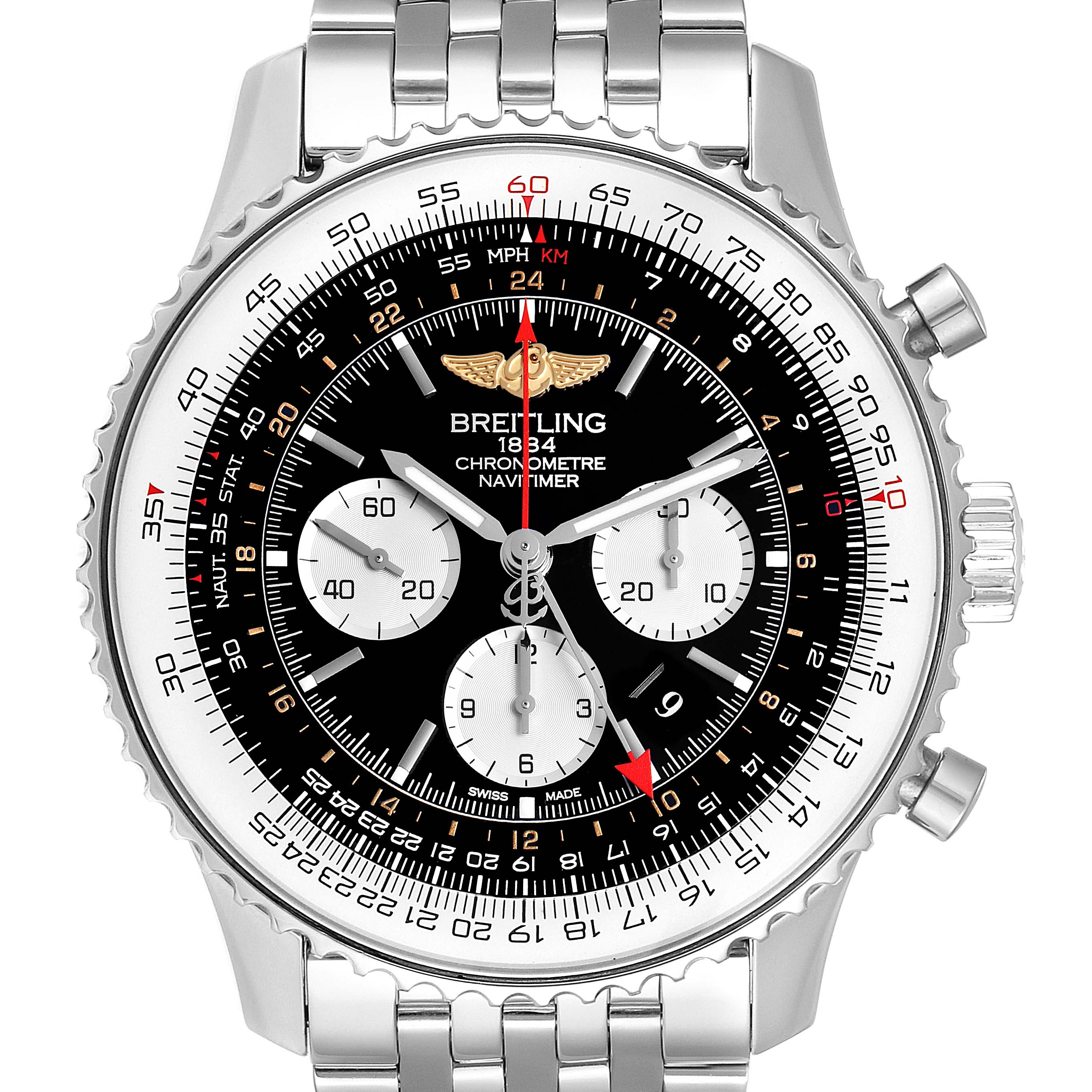 Photo of Breitling Navitimer GMT 48 Black Dial Steel Mens Watch AB0441