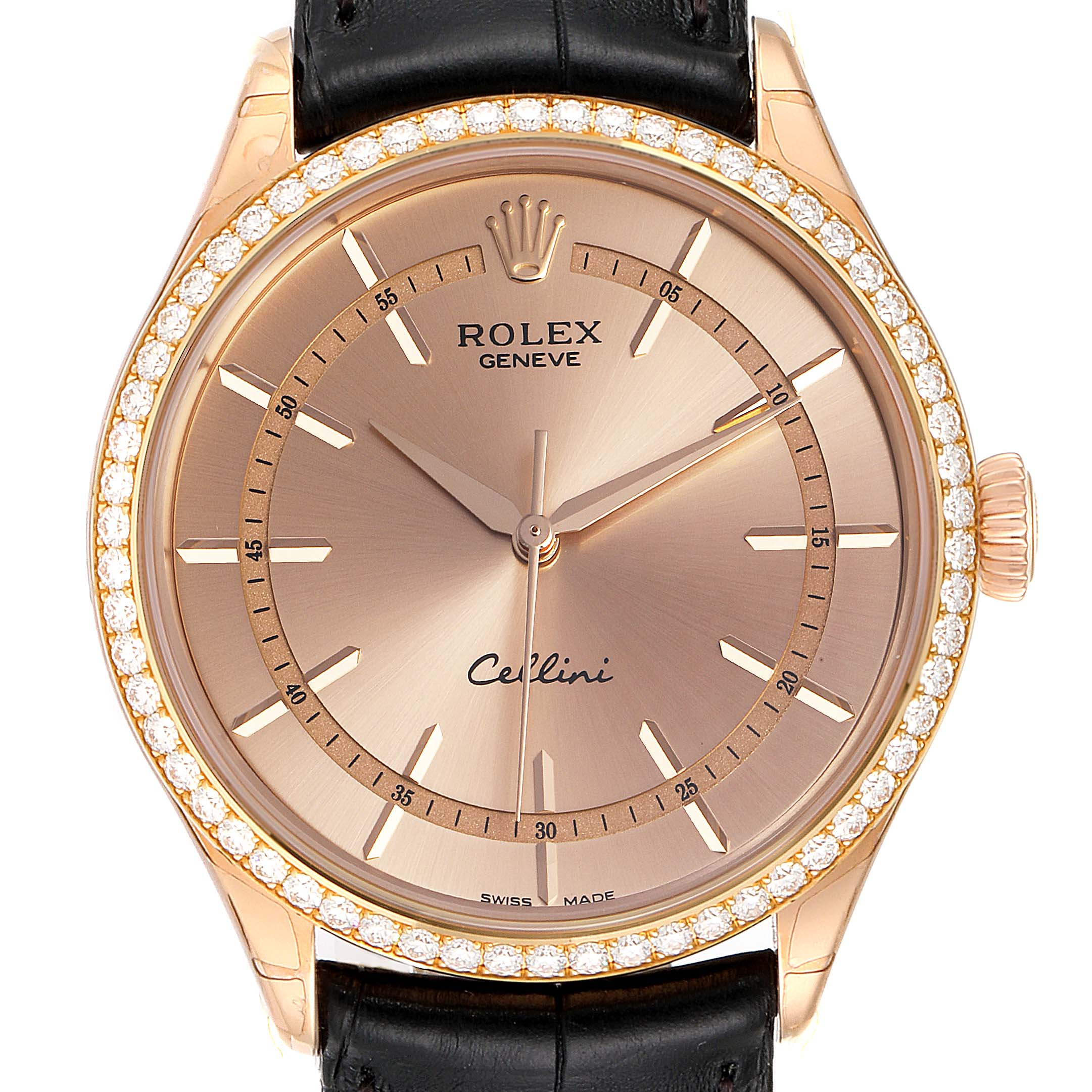 Photo of Rolex Cellini Everose Gold Automatic Diamond Mens Watch 50705 Unworn
