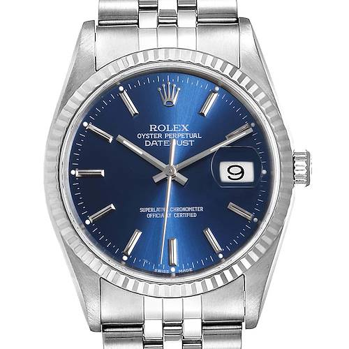 Photo of Rolex Datejust Steel White Gold Blue Dial Fluted Bezel Mens Watch 16234