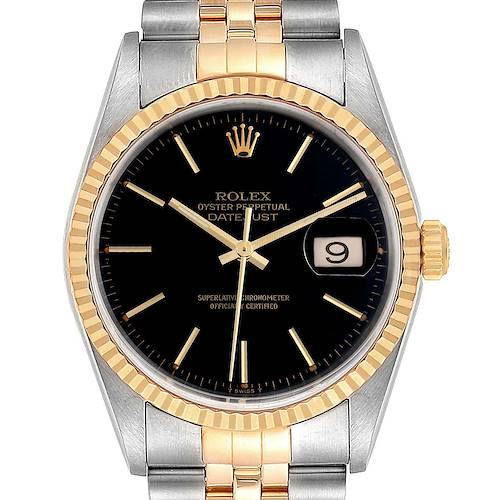 Photo of Rolex Datejust Steel Yellow Gold Black Dial Mens Watch 16233 Box