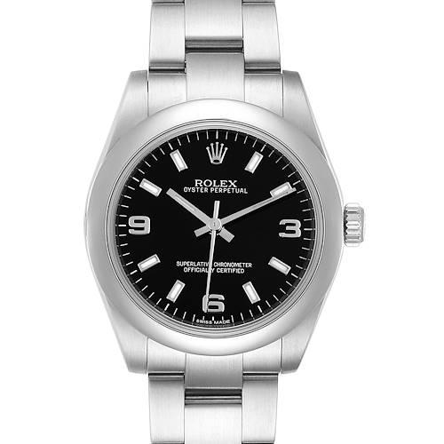 Photo of Rolex Midsize Black Dial Domed Bezel Steel Ladies Watch 177200