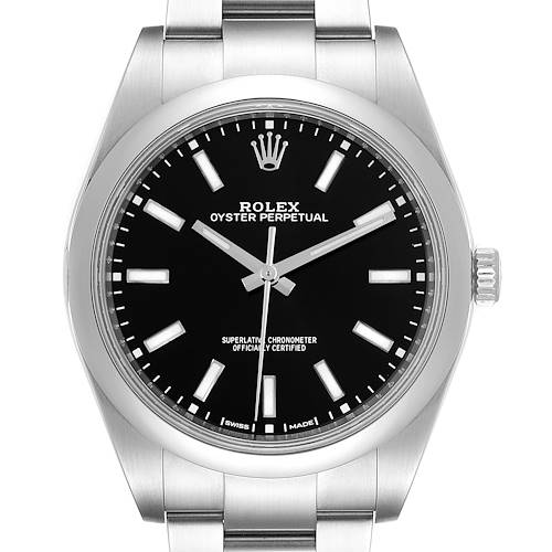 Photo of Rolex Oyster Perpetual 39 Black Dial Steel Mens Watch 114300 Box Card