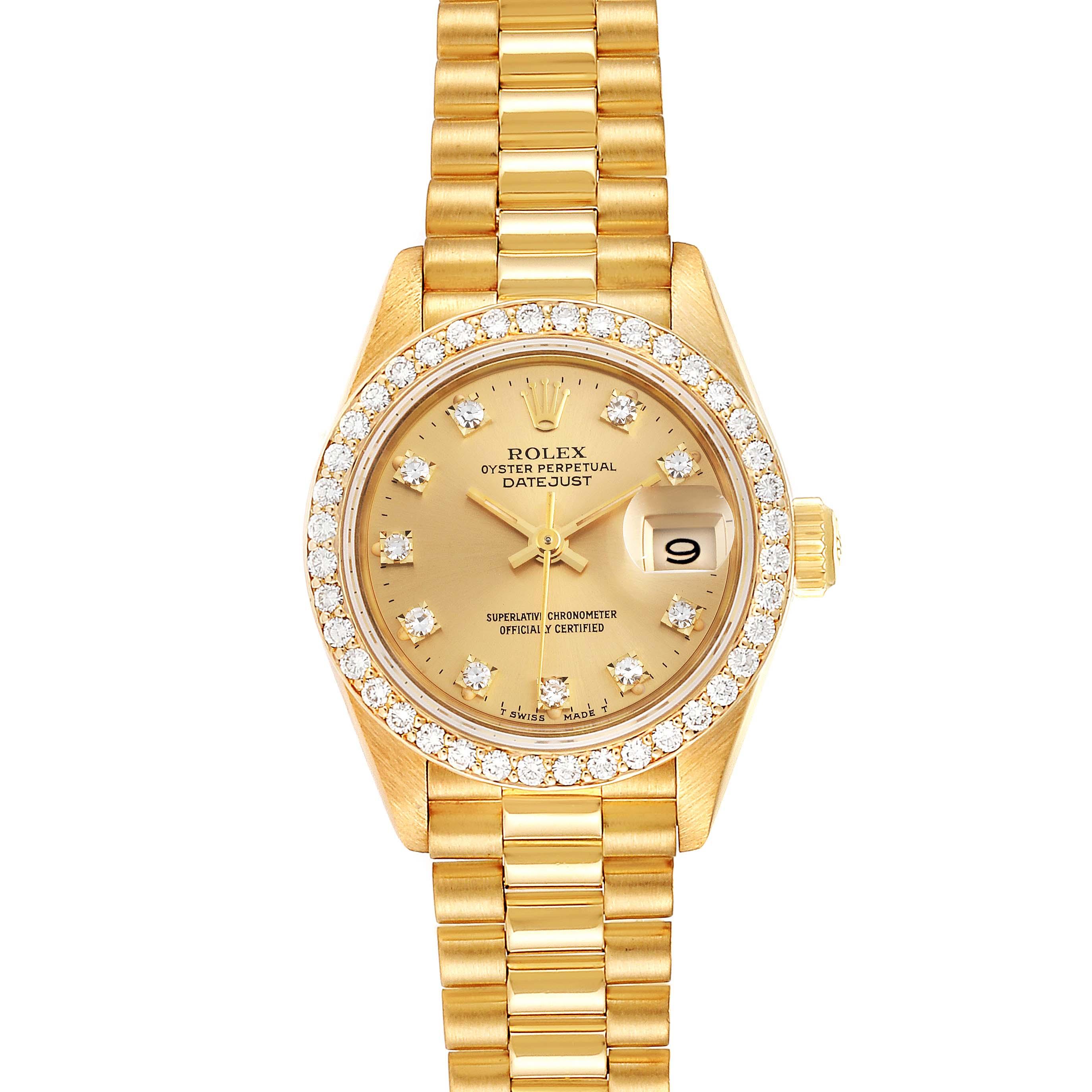 Photo of Rolex President Datejust 26mm Yellow Gold Diamond Ladies Watch 69138
