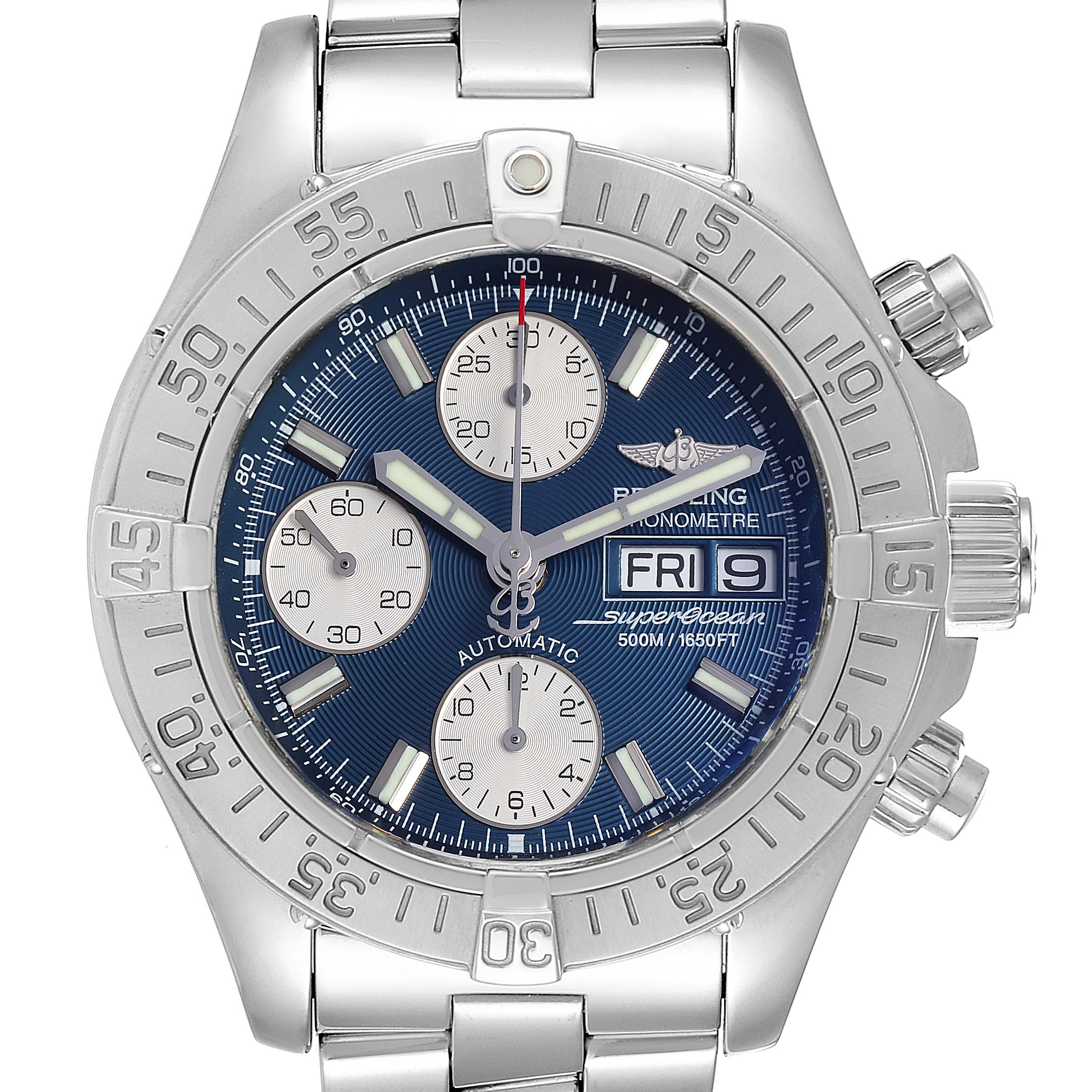 Breitling Superocean Blue Dial Steel Mens Watch A13340
