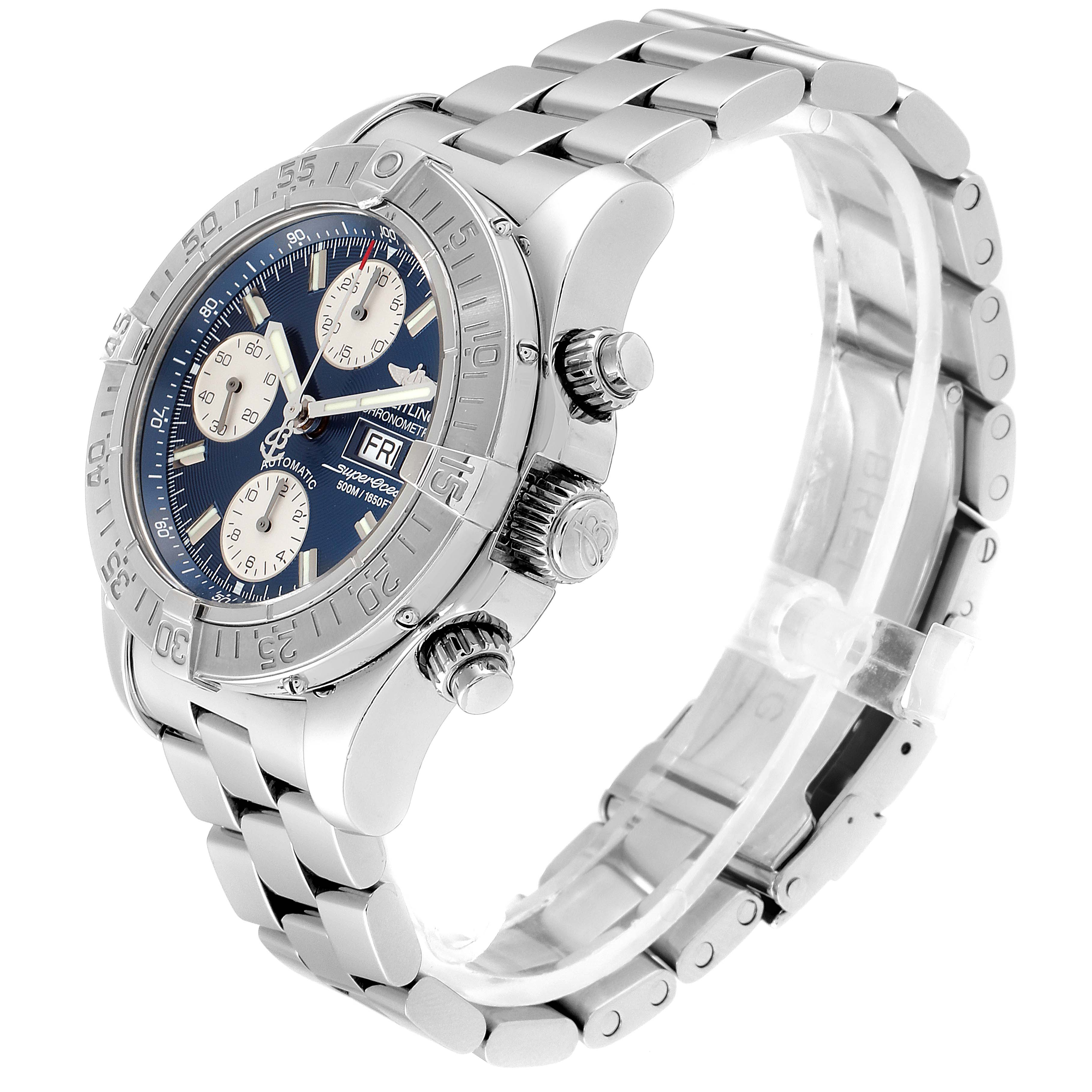 Breitling Superocean Blue Dial Steel Mens Watch A13340 SwissWatchExpo