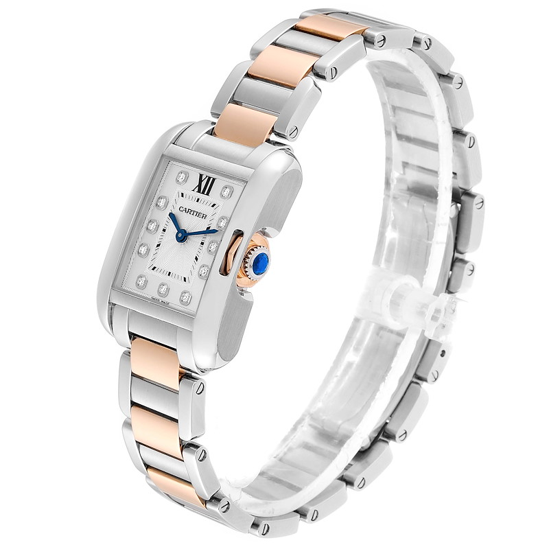 Cartier Tank Anglaise Small Steel 18K Rose Gold Diamond Watch WT100024 SwissWatchExpo
