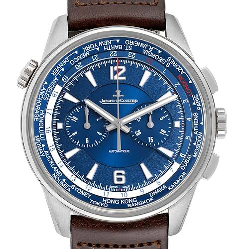 Photo of Jaeger Lecoultre Polaris World Time Blue Dial Titanium Mens Watch 844.t.c2.s