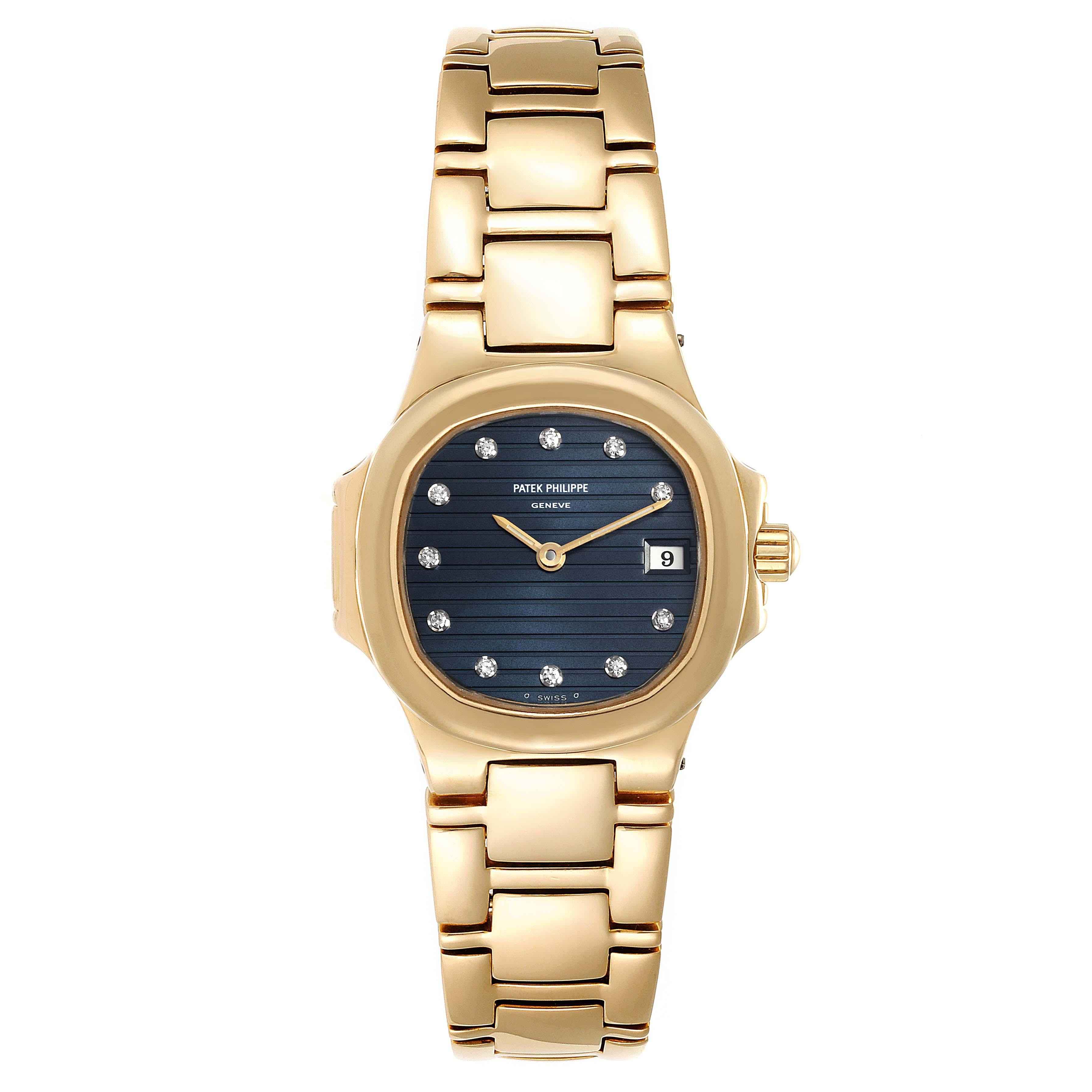 Patek Philippe Nautilus 18K Yellow Gold Diamond Ladies Watch 4700 SwissWatchExpo