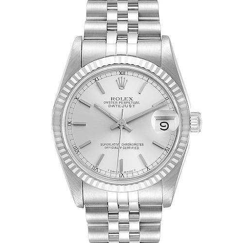 Photo of Rolex Datejust Midsize 31 Steel White Gold Silver Dial Ladies Watch 68274