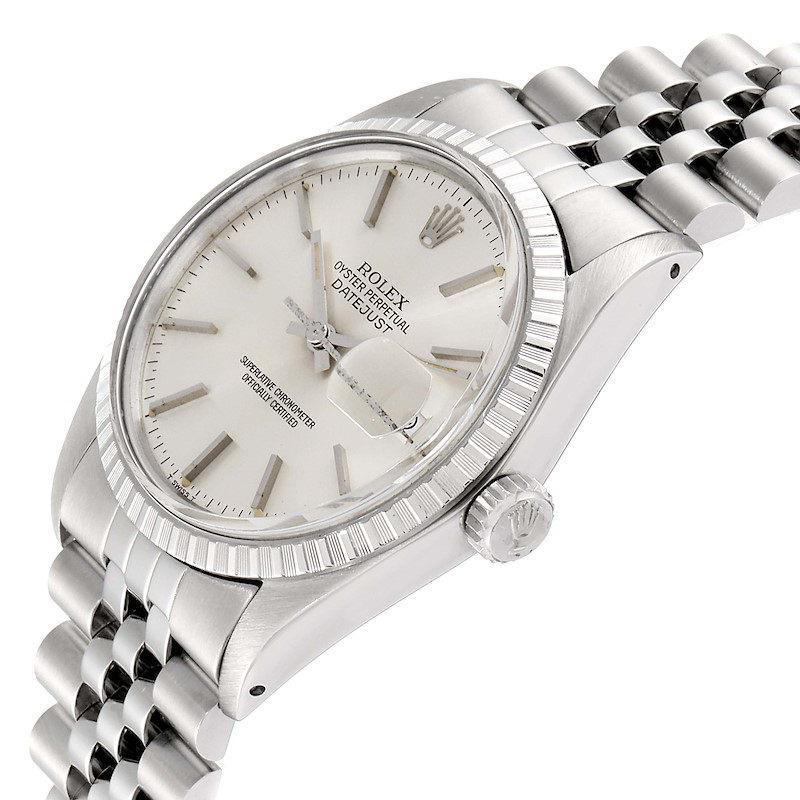 Rolex Datejust Silver Dial Vintage Steel Mens Watch 16030 Papers SwissWatchExpo
