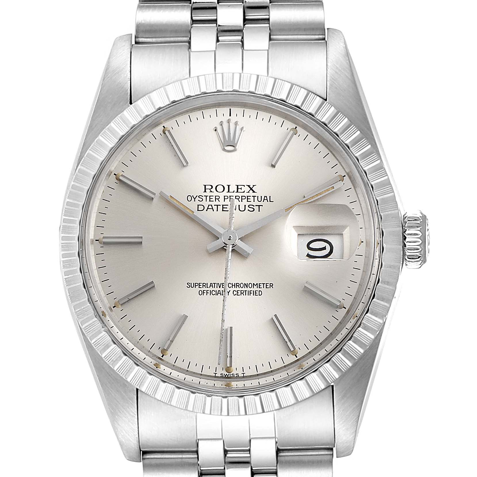 Photo of Rolex Datejust Silver Dial Vintage Steel Mens Watch 16030 Papers