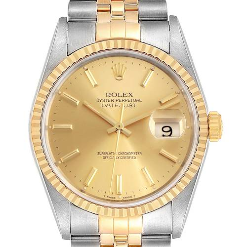 Photo of Rolex Datejust Steel 18K Yellow Gold Mens Watch 16233 Box Papers