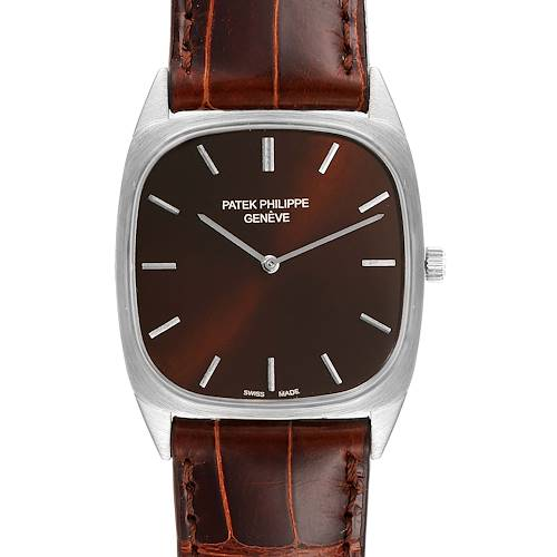 Photo of Patek Philippe 18k White Gold Brown Dial Vintage Mens Watch 3566