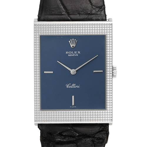 Photo of Rolex Cellini 18k White Gold Blue Dial Vintage Mens Watch 4127