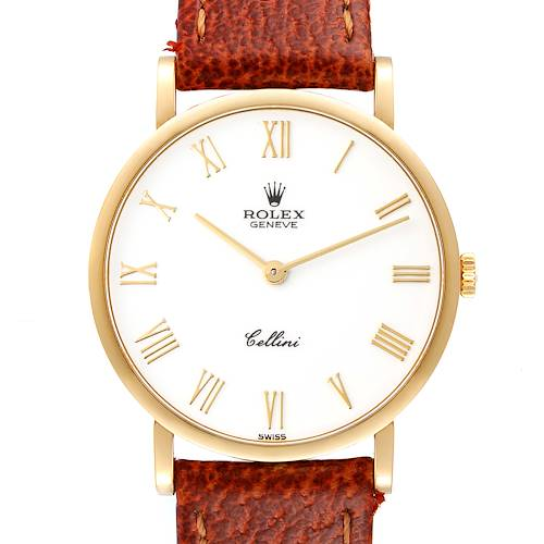 Photo of Rolex Cellini Classic 18K Yellow Gold White Roman Dial Mens Watch 5112