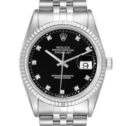 Photo of Rolex Datejust Steel White Gold Black Diamond Dial Mens Watch 16234