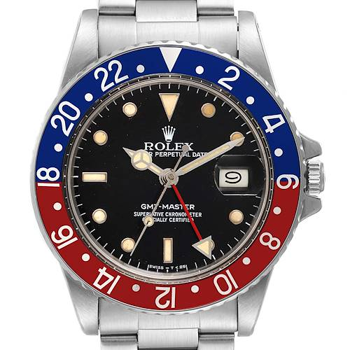 Photo of Rolex GMT Master Pepsi Bezel Vintage Steel Mens Watch 16750