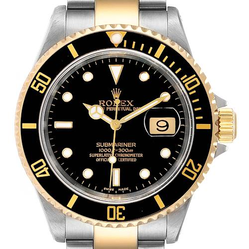 Photo of Rolex Submariner Black Dial Steel Yellow Gold Mens Watch 16613
