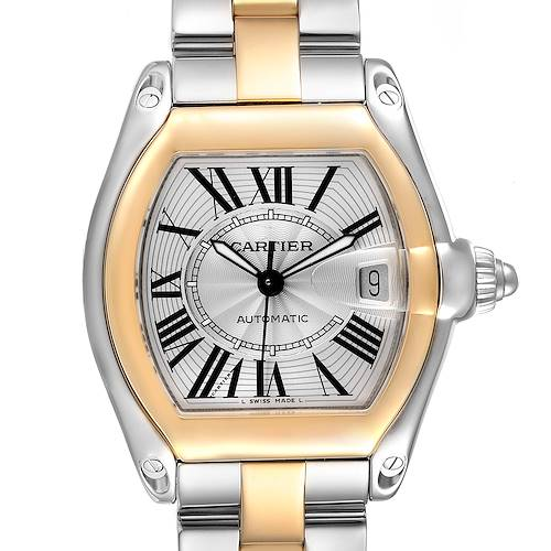 Photo of Cartier Roadster Yellow Gold Steel Silver Dial Mens Watch W62031Y4