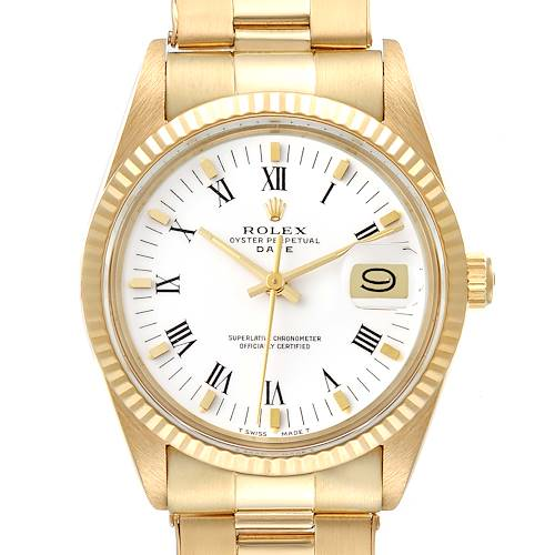 Photo of Rolex Date 18k Yellow Gold White Roman Dial Vintage Mens Watch 15038