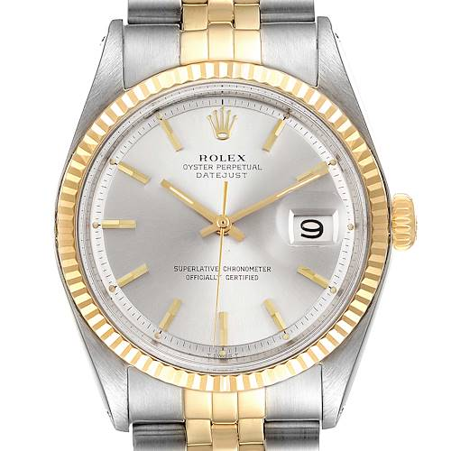 Photo of Rolex Datejust Steel Yellow Gold Silver Dial Vintage Mens Watch 1601