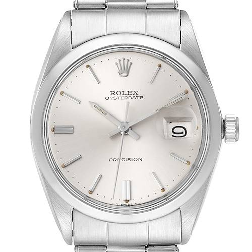 Photo of Rolex OysterDate Precision Silver Dial Steel Vintage Watch 6694