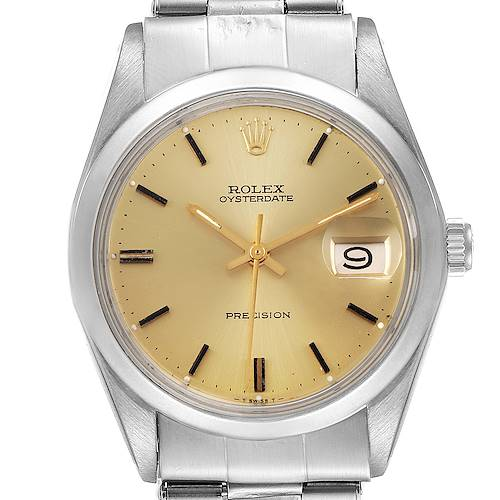 Photo of Rolex OysterDate Precision Steel Champagne Dial Vintage Mens Watch 6694