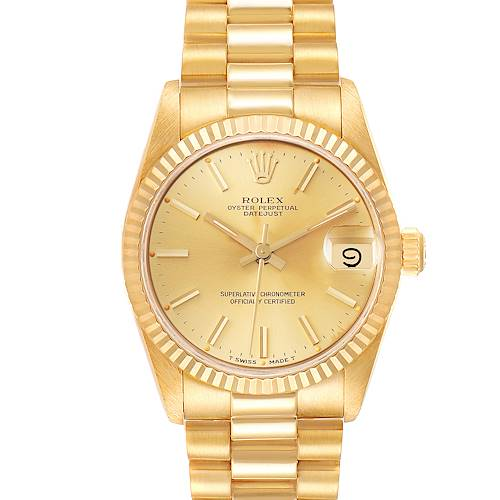 Photo of Rolex President Datejust 31mm Midsize Yellow Gold Ladies Watch 68278 Papers