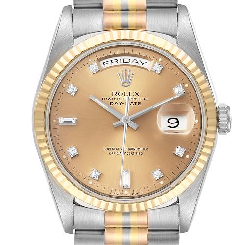 Photo of Rolex President Day-Date Tridor White Yellow Rose Gold Diamond Watch 18239 Papers