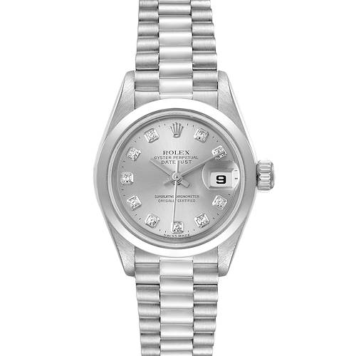 Photo of Rolex President Ladies Platinum Silver Diamond Dial Watch 79166 Box Papers
