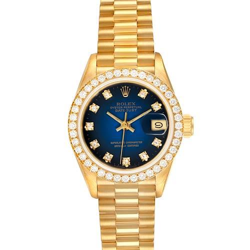 Photo of Rolex President Yellow Gold Blue Vignette Diamond Ladies Watch 69138