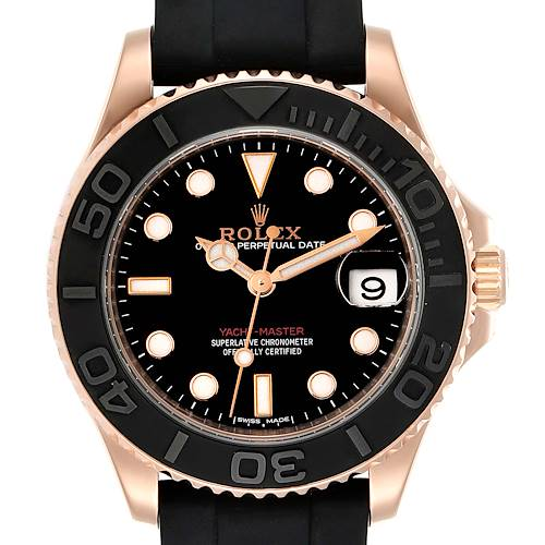 Photo of Rolex Yachtmaster 37 18K Everose Gold Rubber Strap Watch 268655 Box Card